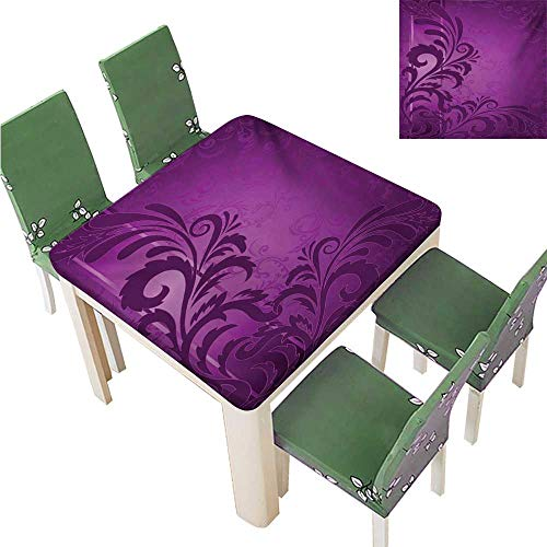 Waterproof Polyester Table,Spiral Floral Branch Leaves On The Vertical Border Retro Style Abstract Design Tablecloths Great for Buffet Table,55W x 55L Inches(Elastic Edge)