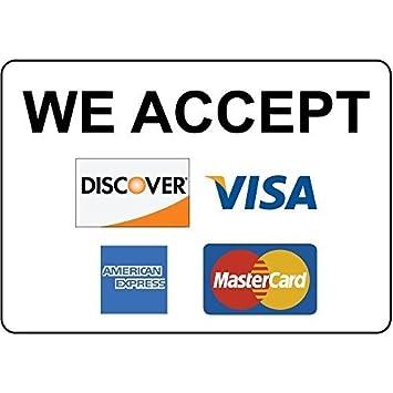 We Accept Discover Visa American Express - Placa de aluminio ...
