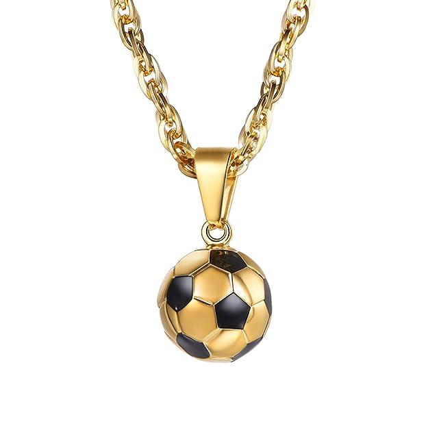 Collar de Fútbol de Acero Inoxidable Chapado en Oro 18K https://amzn.to/2McYRpf