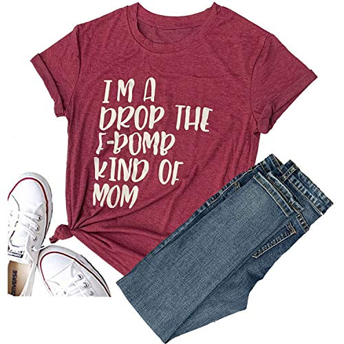 - Hellopopgo I'm A Drop The F-Bomb Kind of Mom Hubby Obsessed T Shirt Funny Saying Top Tees (Large, Red)