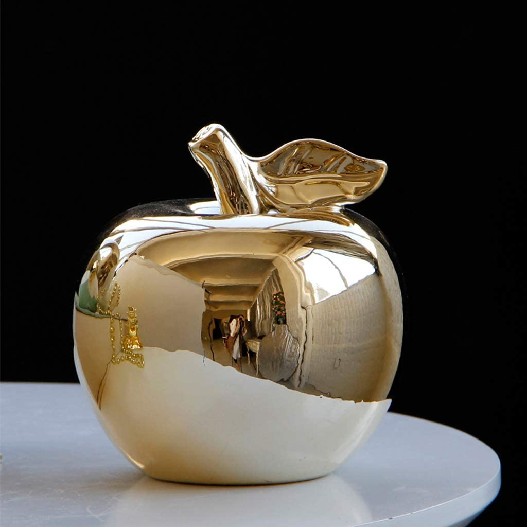 4x4x5inch Decorative Apple Statues,Nordic Ceramic Fruit Figurines Modern Home Decor Accents Minimalist Abstract Ornaments Sculptures Gold A 9.5x9.5x11.5cm