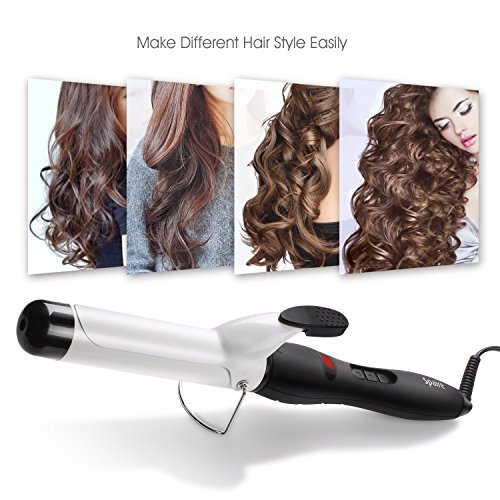 Spaire Curling Iron 1 Inch Hair Curler Fast Heating Auto Shut-Off Ceramic Coating Barrel LCD Temperature Indicator Adiabatic Head for Home, Travel, Salon (Ceramic Hair Curlers Iron)