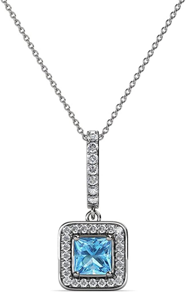 TriJewels Petite Blue Topaz Solitaire Cross Pendant in 14K Gold With 14K Gold Chain
