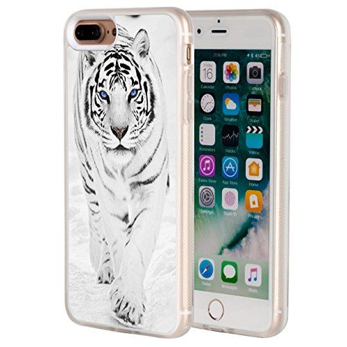 iPhone 8 Plus Case,iPhone 7 Plus Case,AIRWEE Clear Bumper White Tiger Pattern Anti-Scratch Slim Soft TPU Back Protective Cover Case for Apple iPhone 7/8 Plus