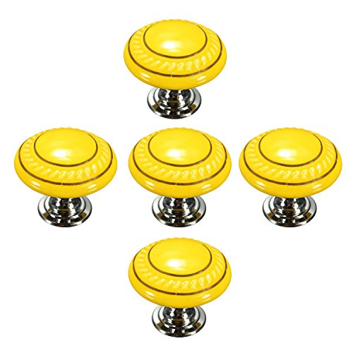 CSKB Yellow 5PCS Retro Style Round Ceramic Door Knob Modern Design Dresser Drawer Pulls Kitchen Bathroom Cabinet Pull Handles (Door Handles Style Flame)