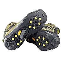 KOBWA Ice& Snow Cleats 10-Stud Anti-slip Traction Crampons Spikes Grip for Boots/ Shoes
