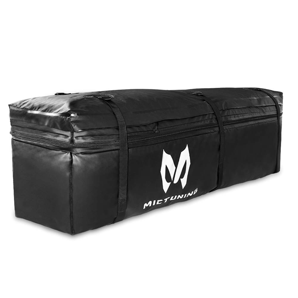 MICTUNING Hitch Rack Cargo Carrier Bag, Waterproof 9.5 cu. ft. Expandable to 11.5 cu. ft. Large Capacity (Black)
