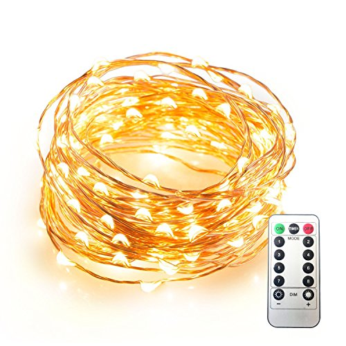 JMEXSUSS 8 Modes Remote Control 100 LED 32.8ft Battery Operated Waterproof Dimmable Fairy String Copper Wire Lights for Christmas, Bedroom, Patio, Wedding, Party, Warm White by JMEXSUSS (Image #1)