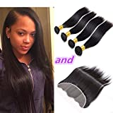 CCOLLEGE 8A Brazilian Virgin Human Hair 4 Bundles With (13 x 4) Lace Frontal Straight Wave Weft 100% Real Human Hair Extensions Natural Color (20 22 24 26 + 18)
