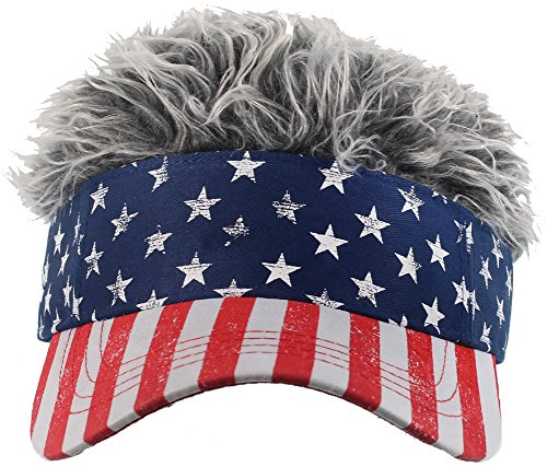 Flair Hair Men's American Flag Visor and Grey Hair, Red, One Size -