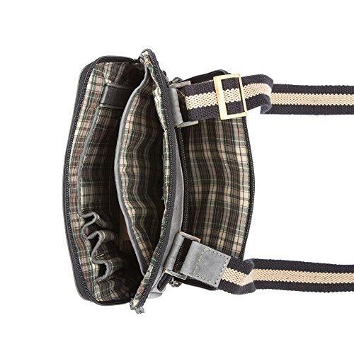 Bolso al hombro messenger bag verdadera piel Vintage con bolsillo Tablet y iPad DUDU Negro