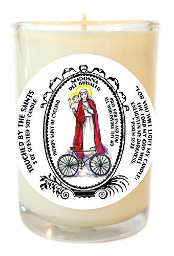 Madonna Del Ghisallo Patron of Cycling 8 Oz Scented Soy Glass Prayer Candle by Touched By The Saints
