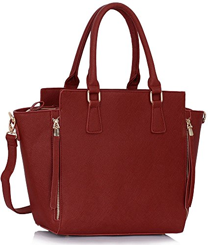Ladies Leather Womens Tote Burgundy Faux Handbags Large Design 1 New Shoulder Style Bags Designer SwS6U
