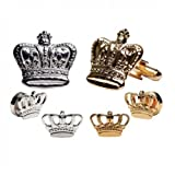 Mardi Gras Crowns Gold Trim Tuxedo Studs and Cufflinks