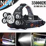 35000 LM 5X Black XM-L T6 LED Rechargeable Headlamp Headlight Travel Head Torch