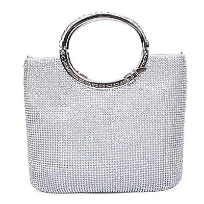 Chichitop Women Crystal Rhinestone Evening Clutches Bags Wedding Purse Handbags with Bow Frame