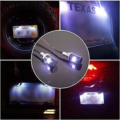 CZC AUTO 2PCS License Plate Light, License Tag Screw Bolt Lamp, 12V White LED Bulb, Waterproof/Rainproof, Black Aluminium Light Holder, Legal for Car Motorcycle Truck RV ATV Bike: Automotive