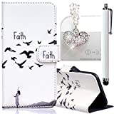 Apple iPhone 6 Plus/ 6S Plus Embossing Pattern Case, Bonice Magnetic Snap PU Leather Wallet Case [Free Metal Stylus Pen + Diamond Antidust Plug] Hybrid Silicone Rubber Gel Anti Scratch Shockproof Protective Bumper-Faith
