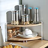 corner kitchen cabinet storage ideas Spice Rack Organizer, Dual Layer Kitchen Corner Shelf Spice Racks Kitchen Cabinet Spice Rack Organizer Wood Storage Shelves for Seasoning Bottles/Flavoring Household Bathroom