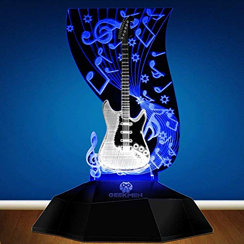 Novelty Lamp, Music Note Indoor Lighting, Touch Switch Illusion Optical Table Lamp Art Music Instrument Guitar 3D Line Lamp LED Decorative Night Light Guitarist Music Room Decor Unique Gift Idea for M by LIX-XYD (Image #1)