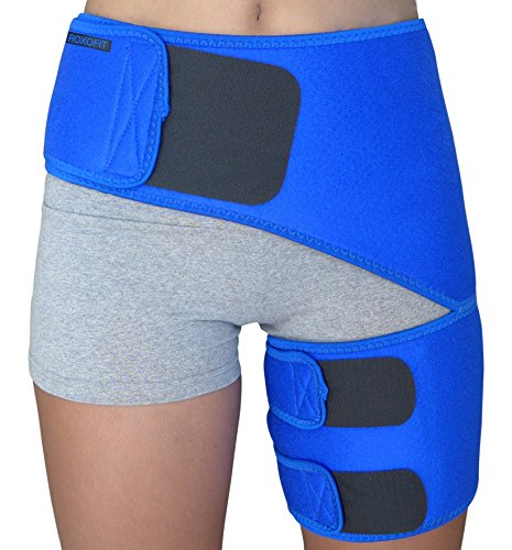 Hip Brace – Compression Groin Support Wrap for Sciatica Pain Relief Thigh Hamstring Quadriceps Injuries Hip Arthritis Joint Pain Hip Flexor Pulled Muscles – Best Sciatic Brace SI belt for Men Women
