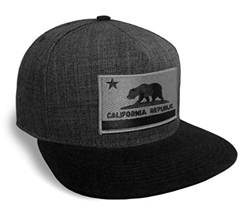 California-State-Flag-Dark-Grey-And-Black-Flat-Brim-Baseball-Cap-Hat-Snapback
