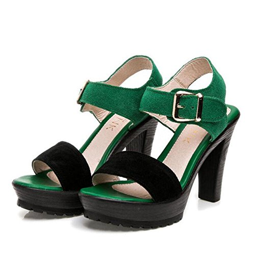 L@YC Girls Women Sandals Summer Matte Leather Thick Thick High With Waterproof Table Shoes Black, green, 35