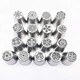 Russian Tulipicing Piping Baking Tools For Cakes Wedding Russian Nozzles Cake Cupcake Decoration Nozzles Stainless Steel Piping Nozzle Kits 17pcs/set Baking Accessories Cake Tools