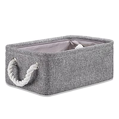 "Storage Box Laundry Basket Closet Cube Bin Organizer with Handles for Bedroom Office Toys Clothes,14.2 X 10.2 X 6.3 inch - Size of Unfold: 14.2 "" x 10.2"" x 6.3"" Made of high quality cotton linen, non-toxic, no chemicals are added during the production process. Making these safe for everyone, including babies. Metal eyelets and cotton rope handles make it easy to carry or pull off and out of shelves. - living-room-decor, living-room, baskets-storage - 51BrKvEYVcL. SS400  -"