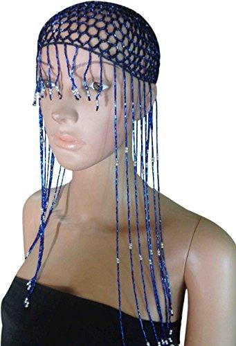 Belly Dance Costume Egyptian Metal Cleopatra Cobra Crown & Armlet Halloween 403 (Dark Blue X Dark Blue Bead) -