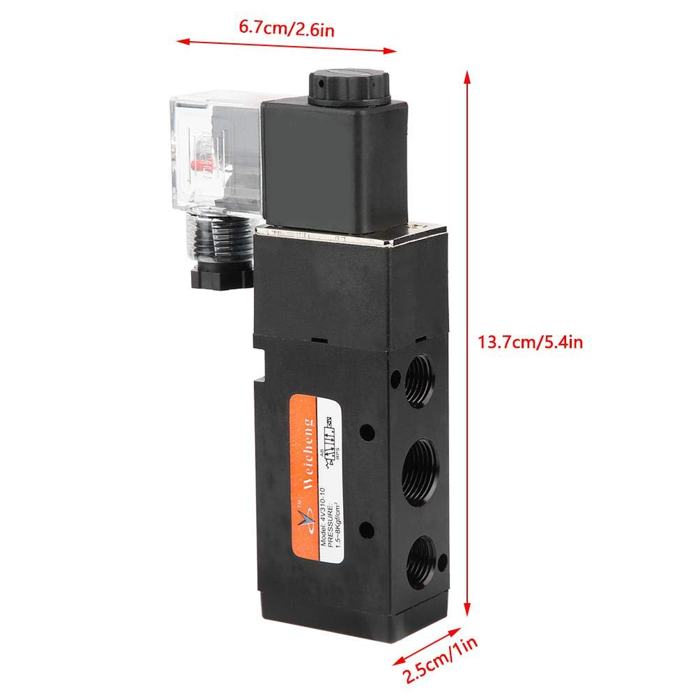 EVTSCAN Latest Professional G3//8 Solenoid 4V310-10 2 Position 5 Port Pilot-Operated Electromagnetic Valve AC220V