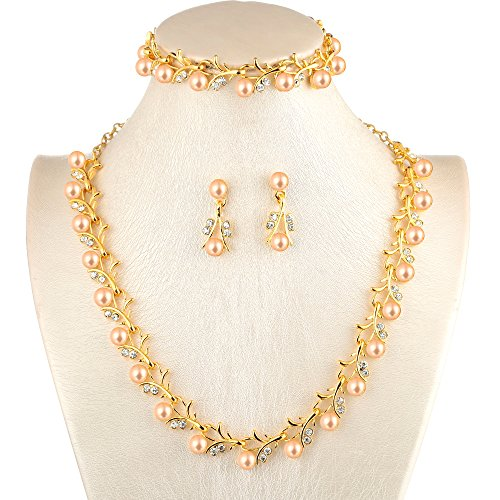 MOOCHI 18K Gold Plated Pink Simulated Pearls Crystal Twig Pattern Jewelry Set