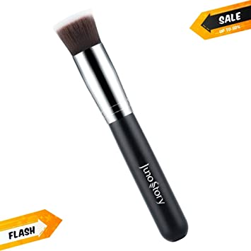 Flat Top Foundation Makeup Brush - Best Professional Kabuki Brush for Both Powder and Liquid Makeup