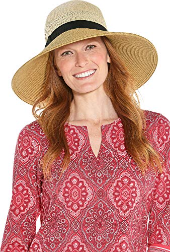 Coolibar UPF 50+ Women's Shannon Wide Brim Beach Hat - Sun Protective (One Size- Natural Colorblock)