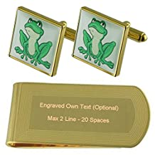 Prince Frog Gold-tone Cufflinks Money Clip Engraved Gift Set