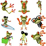 FANCYLEO 3D Funny Frog Vinyl Decal Sticker Set Pcs for DIY Car, Motorcycle Luggage, Laptop, Skateboard, Luggage, Waterproof Vinyl Decals for Motorcycle, Bicycle, Bumper