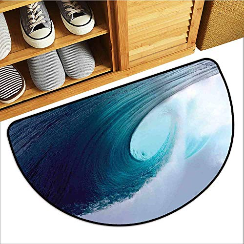 (Custom&blanket Scraper Entrance Mat, Ocean Decor Decorative Imdoor Rugs for Office, Tropical Surfing Wave on a Windy Sea Indonesia Sumatra (H16 x D24 Semicircle) )