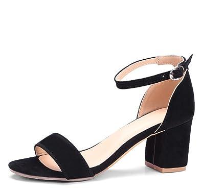 b6676717ac7 Easemax Women s Dressy Mid Chunky Heel Open Toe Ankle Buckle Strap Faux  Suede Sandals Black 4