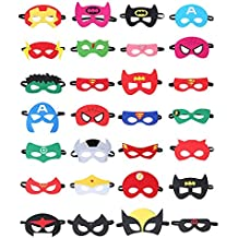 FIG PARTY FAVORS Superheroes Party Masks for Children 28 Piece Superhero Masks Perfect for Children Aged 3+ and Adults- Birthday Party Supplies