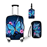 Bigcardesigns Blue Butterfly Luggage Covers 3Pcs
