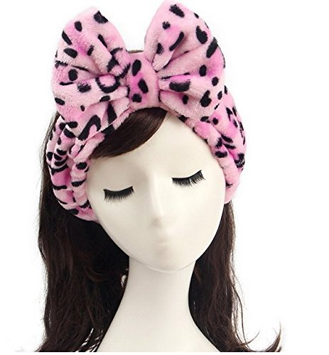 Shintop Women Fashion Lovely Soft Carol Fleece Bowknot Bow Makeup Cosmetic Shower Elastic Hair Band Hairlace Headband (Pink) ()