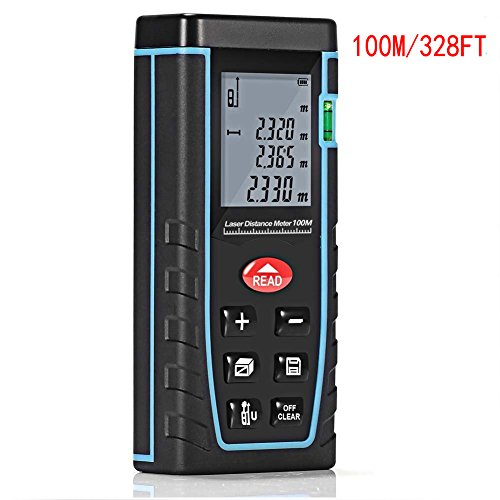 Laser Distance Meter 100M/328ft Portable Handle Digital Measure Tool Range Finder with Bubble Level and Large Backlit LCD 4 Line Display (100M/328ft)