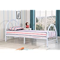 Roundhill Furniture Belledica Metal Bed Set with Headboard, White, Twin