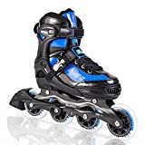Kuxuan Herio Men Adjustable Rollerblades,Fun Performance Inline Skates for Boys,Girls and Ladies - Blue L
