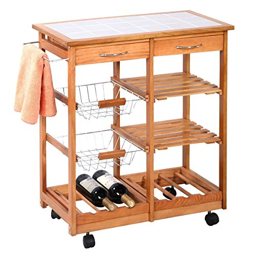 Portable Rolling Wooden Kitchen Trolley Cart Countertop Dining Storage Drawers Stand New W 6