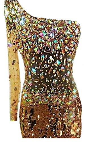 Damen Diamant Banquet Pailletten Ballkleid Goldfarben Shoulder One emmani FwIdF
