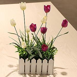 Emulation flower wood fence tulip flower kit floral living room decorated bedroom home artificial flowers flower SILK FLOWER 50