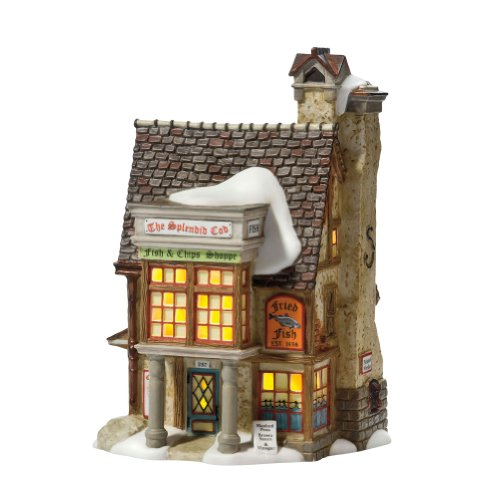 Department 56 Dickens' Village Splendid Cod Fish and Chips Lit House by Department 56