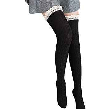 2f190fedd Image Unavailable. Image not available for. Color: Malbaba Women Over The  Knee Long Socks ...