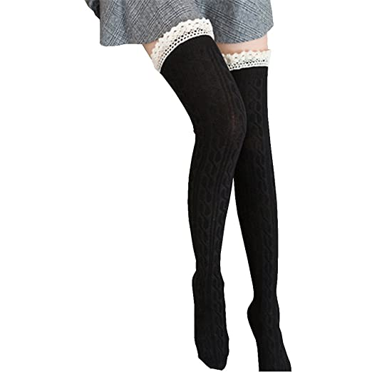 bc0c9439f8b Amazon.com  Women s Extra Long Lace Thigh High Stockings Sock